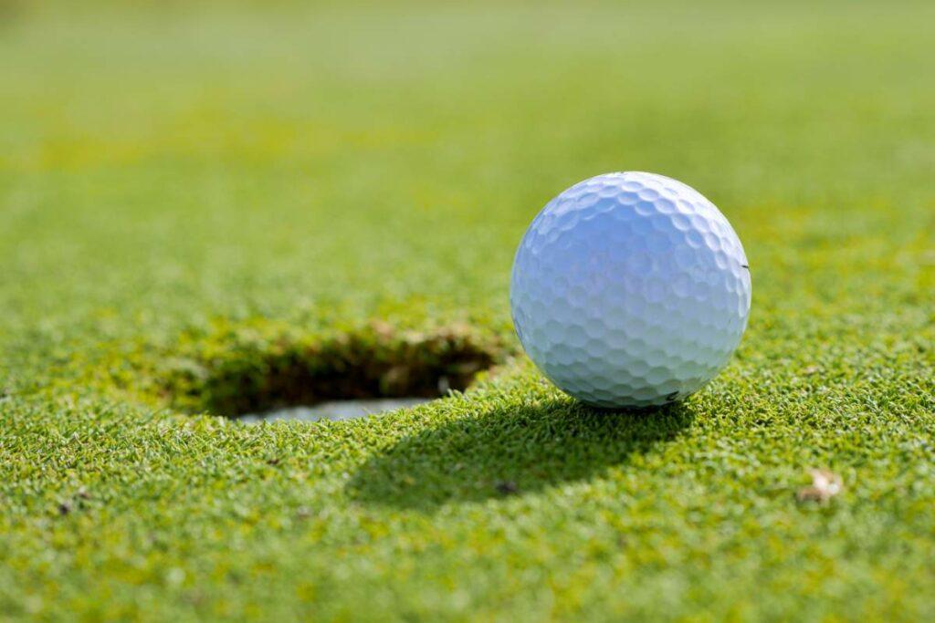 A golf ball beside a hole in a putting green.
