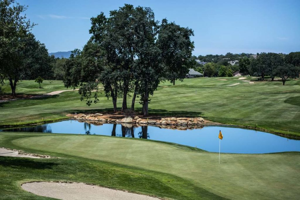 A golf course with a pond and large deciduous trees.