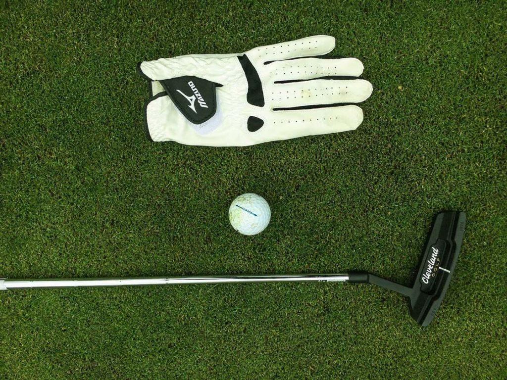 a golf club, ball, and glove lying on grass.